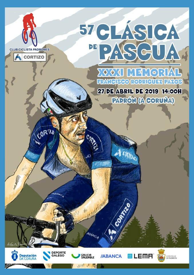 Cartel de la edición 2019 de la Clásica de Pascua cortesía del club ciclista padronés Aluminios Cortizo